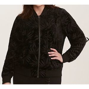 Torrid zip up Burnout Velvet Bomber Jacket 6410